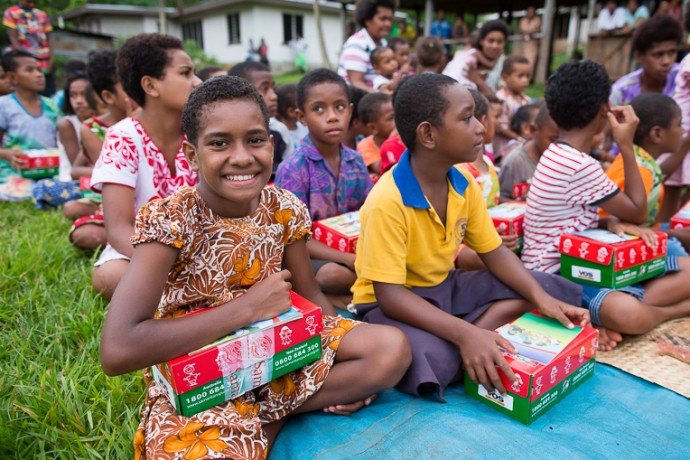 Beautiful smile at an Operation Christmas Child shoebox gift distribution in Fiji.