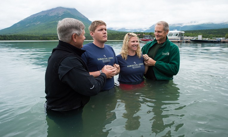 Brandan and Chelsey Taylor were baptized in Lake Clark by two of our staff chaplains.