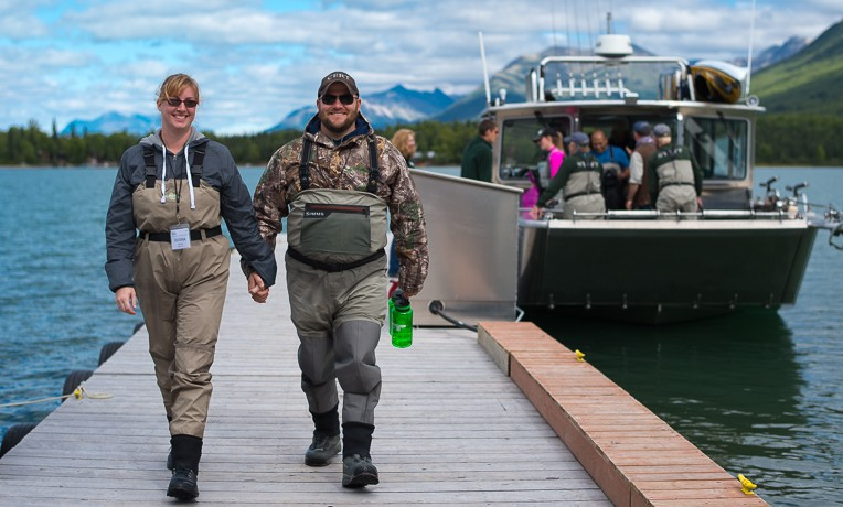 Aaron and Deanna Cardinal return from a fishing adventure during their stay at Samaritan Lodge Alaska. They recommited their marriage to Christ on Friday.