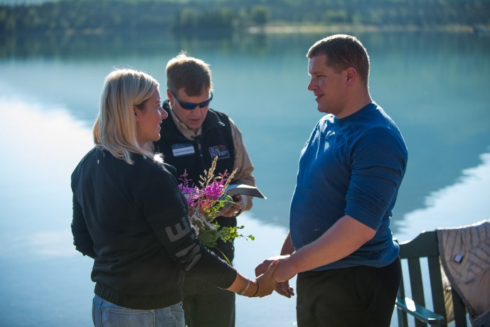 Marine Staff Sergeant Adam Sorensen of Salt Lake City, Utah, and his wife Victoria were also among five couples to renew their vows.