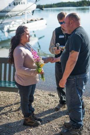 Army Sergeant Alex Pabon of Dover, Delaware, and his wife Syl rededicated their marriage to God and each other. Syl received Christ during their time in Alaska, and the couple was baptized together in Lake Clark on Friday.