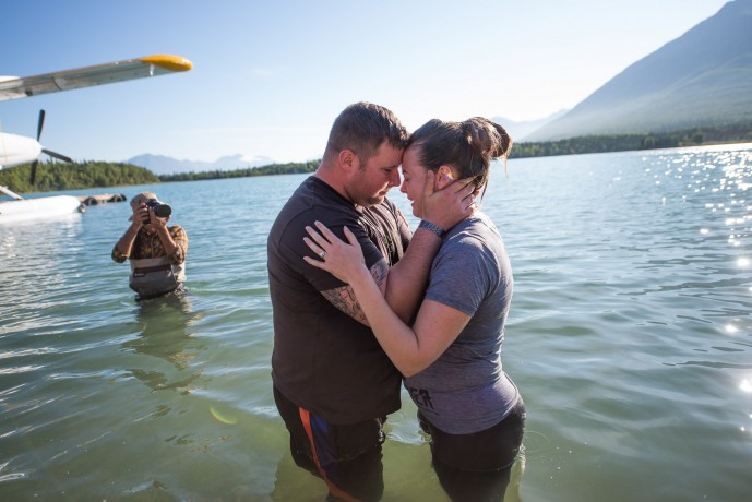 Army Sergeant Pierce Senkarik and his wife Allison of Gainesville, Florida, embraced following Allison's baptism. She received Christ as her Lord and Savior earlier in the week.