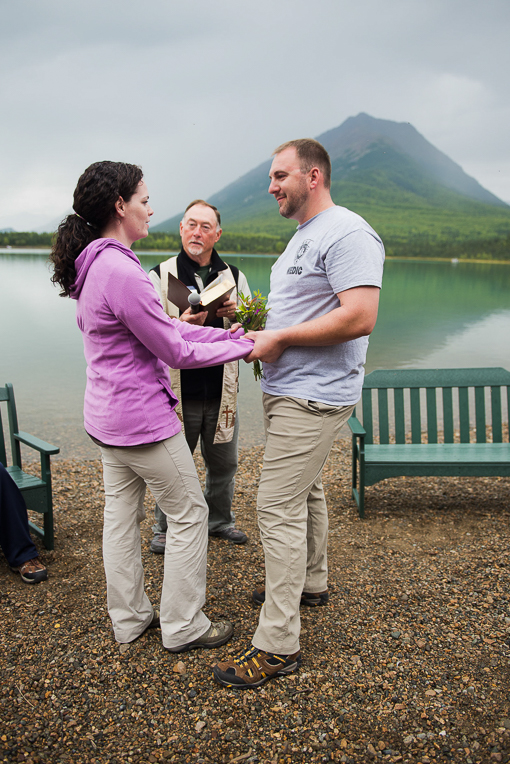 Marine Sergeant Chris and Sally Snider renew their vows with Mt. Tanalian in the background.