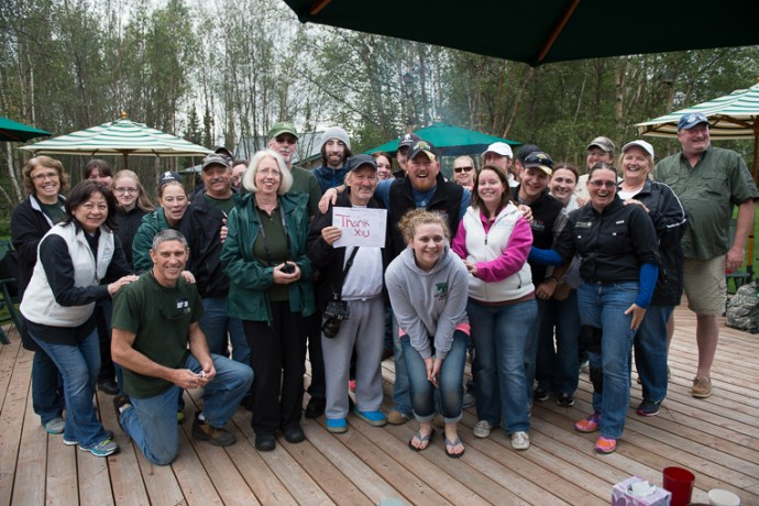 Jean-Claude with staff and participants at Samaritan Lodge last year.