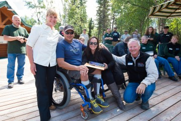 Mark and Sandy Lang manage Samaritan Lodge Alaska and have lived in the area since 1976. They are pictured here with Army Sergeant First Class Matt Dwyer and his wife Ange Marie from Week 8, 2015.