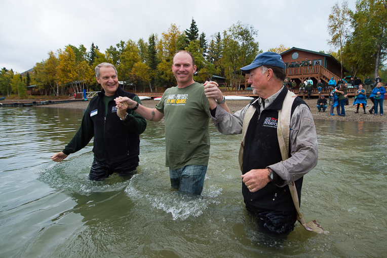 Josh Grzywa was baptized in Lake Clark on Friday, September 11.