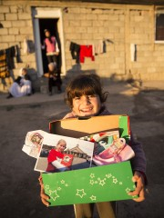 Naveen, an Iraqi child displaced by ISIS, received a shoebox from Faith last year.