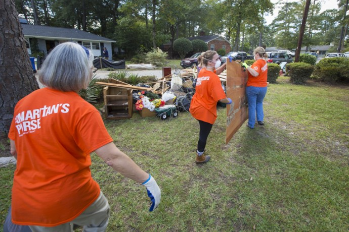 Samaritan's Purse volunteers are busy helping homeowners in Columbia.