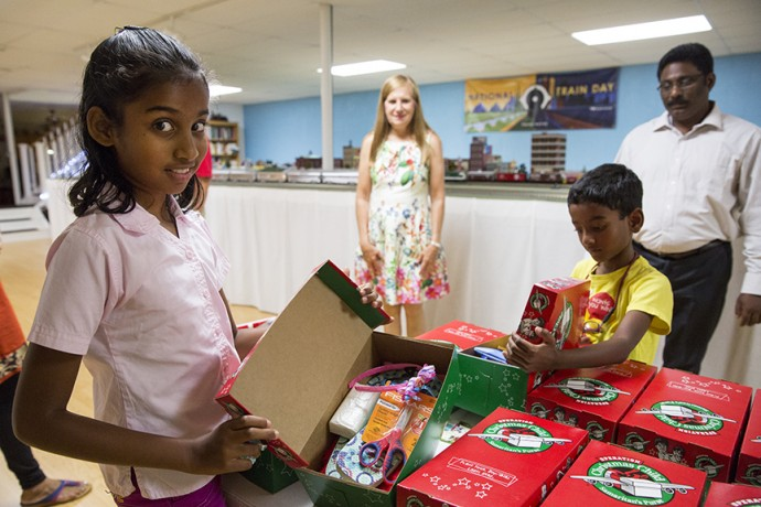 The Deal family worked with their church to organize a shoebox packing opportunity for the Rex children.