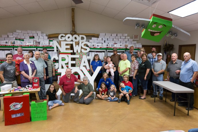 Grace Baptist Church in Wild Peach, Texas, trusted God and packed hundreds of shoebox gifts for children around the world.