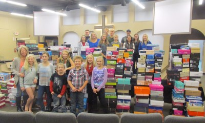 The Friedman packing party ended with 505 shoeboxes stuffed and ready to be processed.