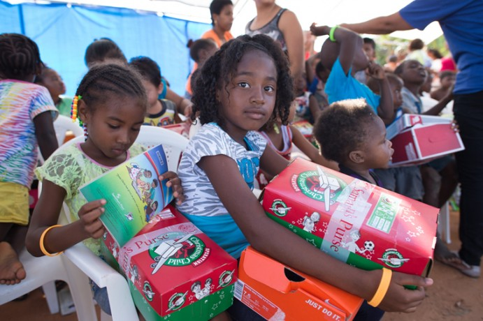 Operation Christmas Child shoebox distribution in Belize 2015