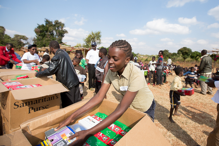 Angella helped distribute Operation Christmas Child shoebox gifts in July.