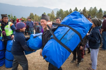 Receiving winter relief from Samaritan's Purse in Nepal.