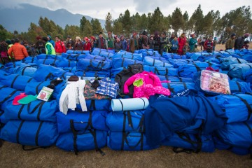 Included in the blue Samaritan's Purse duffel bags were hats, jackets, socks, a sleep mat, blankets, and more.
