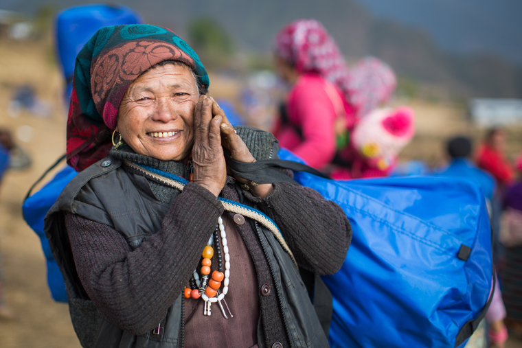 A woman receives relief from Samaritan's Purse in a remote village in Nepal.