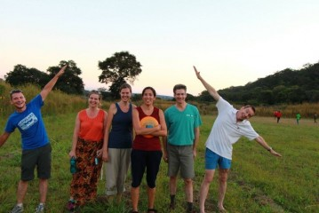 Sarah with coworkers in Zambia.