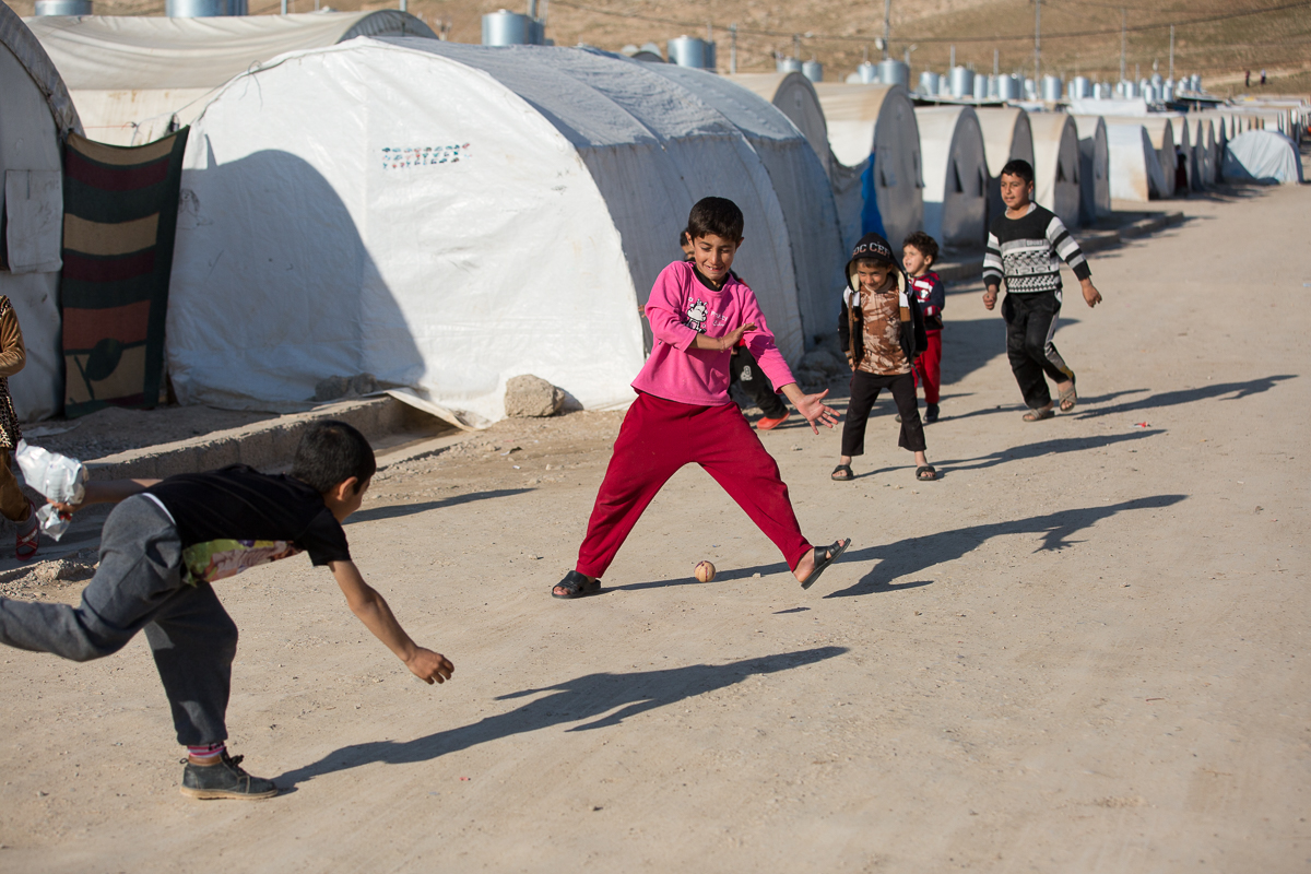 Children play at a camp in northern Iraq where Samaritan's Purse has implemented water, sanitation, and hygiene programming.