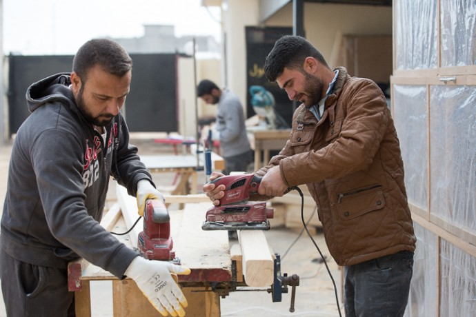 Men learn carpentry at Grace Community Center in northern Iraq. A work of Samaritan's Purse, the center provides livelihoods trainings for whole families displaced by ISIS.