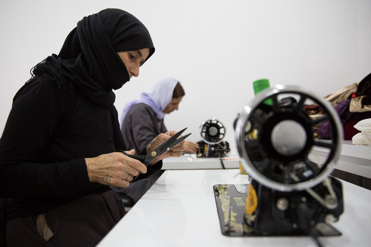 Displaced women learn to sew at Grace Community Center, a work of Samaritan's Purse in northern Iraq.
