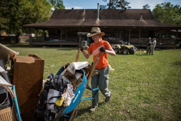 A Samaritan's Purse volunteer at work in Texas after flooding.