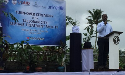 WASH, sanitation, Philippines, Dr. Patrick Gitonga, country director, addressed the crowd at handover.