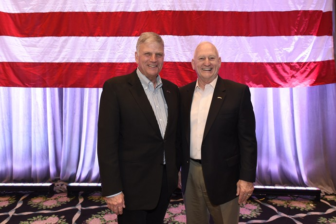 Two men of moral courage—Samaritan's Purse President Franklin Graham and retired Army Lieutenant General Jerry Boykin—challenged military couples to stand up for truth.