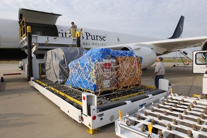 Samaritan's Purse, Ecuador earthquake response, Relief is loaded on our DC-8  headed for Ecuador.