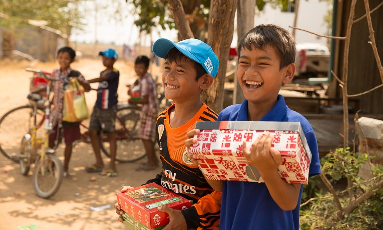 shoebox distribution in Prey Moul village near Phnom Penh, Cambodia