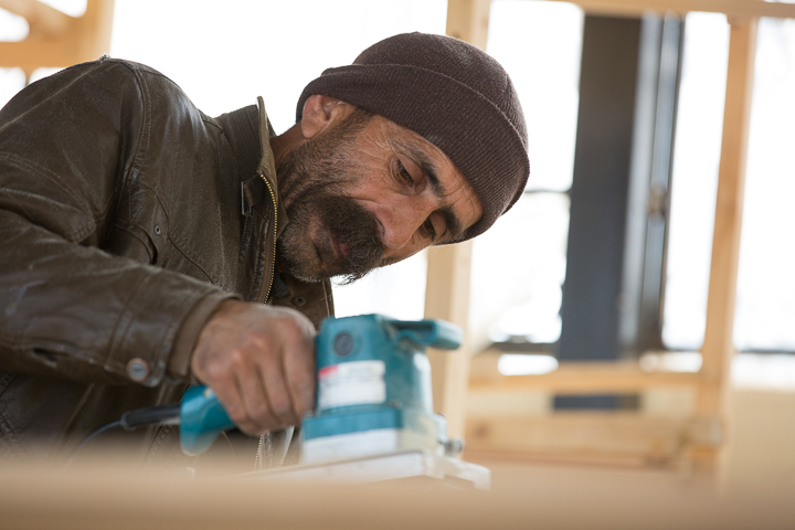 Hakim is learning woodworking skills through  our community center in northern Iraq.  Work among displaced Yazidis.