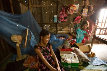 Nimol's family lives in a small bamboo home in an impoverished village.