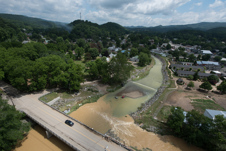 An aerial photo taken June 25 shows a swollen river in West Virginia.