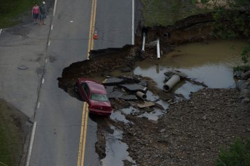 Roads were washed out in recent flooding.