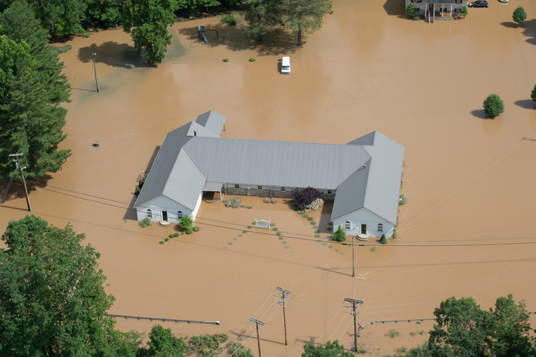 Heavy rains pummeled West Virginia last week causing massive flooding. Aerial photo taken June 25.