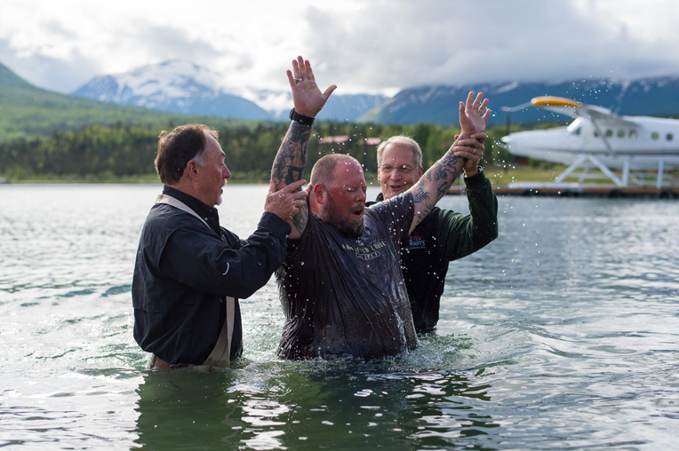 Our retired military chaplains baptized Ken Colson in Lake Clark.