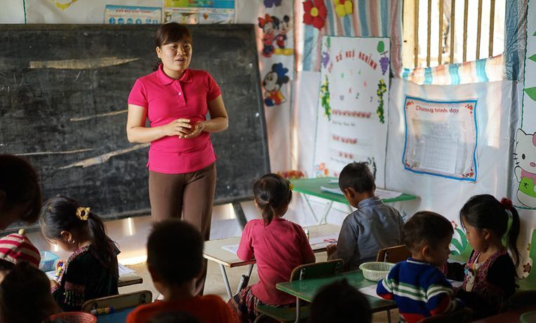 Do Thi Lan Huong learned teaching strategies to encourage and challenge her students.