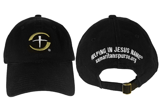 """Functional hat with our watchword """"Helping in Jesus' Name"""" embroidered on the back."""