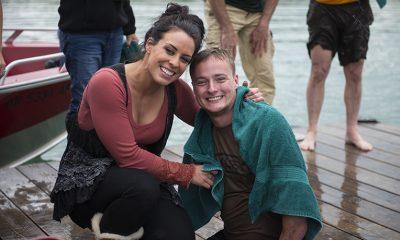 Marine Corporal Jason Hallett and his wife Rachel smile in Alaska after Jason took the polar plunge in Lake Clark.