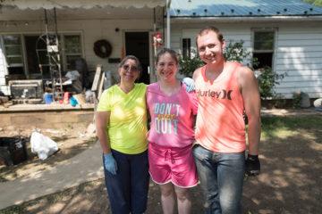 A family helped by Samaritan's Purse volunteers in West Virginia.