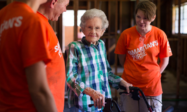Minnie Mae received help after the flooding from her new Samaritan's Purse friends.