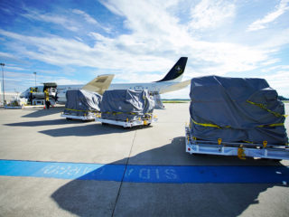 The DC-8 was loaded on Friday, August 19, for its journey to Liberia this week.
