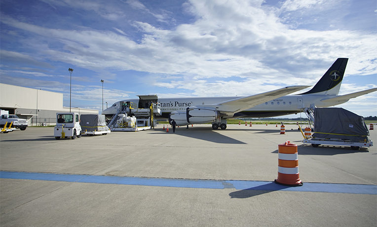 Medical supplies are on their way to Liberia aboard the DC-8.