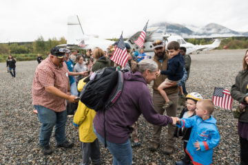 Veterans and their spouses are greeted by the town and our staff as they arrive at Samaritan Lodge Alaska off the shores of beautiful Lake Clark.