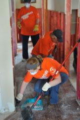 Volunteers sweeping