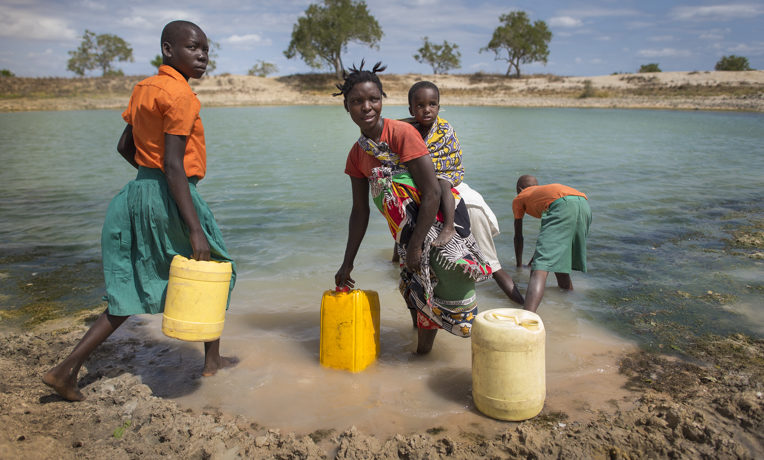 Students and villagers in remote parts of Kenya alike draw water from a local pond, which then gets filtered—both at school and at home.