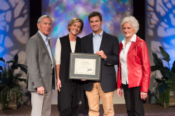 "Dr. Joe Woods, a plastic surgeon from Atlanta, Georgia, is this year's winner of the ""In the Footsteps of the Great Physician"" award. Also pictured are his wife, Laura, and Dr. Richard Furman and Becky Williams of World Medical Mission."