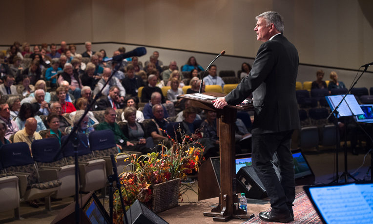 Franklin Graham addresses missionary doctors at the Prescription for Renewal Conference held at The Cove, near Asheville, North Carolina.