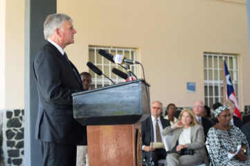 Franklin Graham speaking at ELWA dedication ceremony
