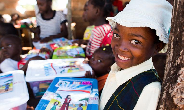 Zambian child receives shoebox gift