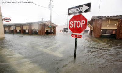Parts of Charleston flooded as Hurricane Matthew hit South Carolina.